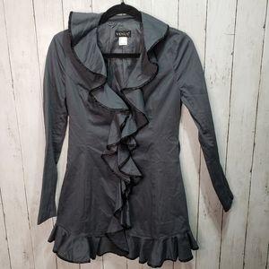 Venus Gray Black Long Ruffle Cotton Blazer Jacket